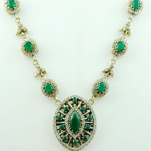 Jewelry - TURKISH HAREM EMERALD STERLING SILVER NECKLACE